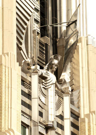 stainless steel sculpture ,named the spirit of light, on the facade of the niagara mohawn building in syracuse, new york Editorial