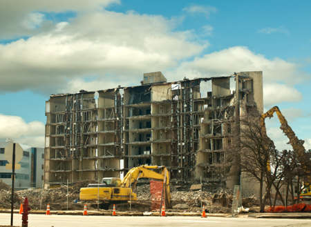 urban building being demolished