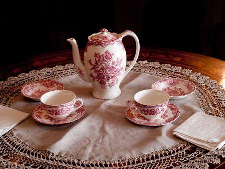 coffe or tea set in morning light