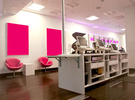 electronic commerce: interior of a cell phone store
