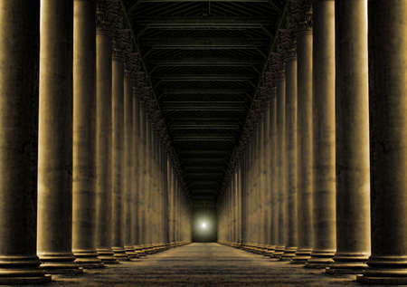 row of pillars at night with light at the end