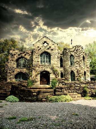 medieval castle and stormy sky Editorial