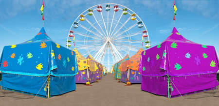 carnival tents and ferris wheel photo