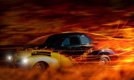 古典的なホットロッド夜描写を介して高速化 写真素材