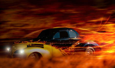 street rod: classic hot rod speeding through the night depiction Stock Photo