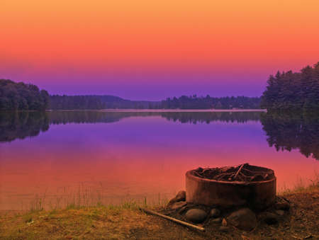 campsite at sunset in the adirondack mountains of new york state Stock Photo