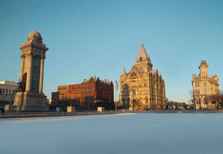 view of syracuse, new york in the wintertime Stock Photo