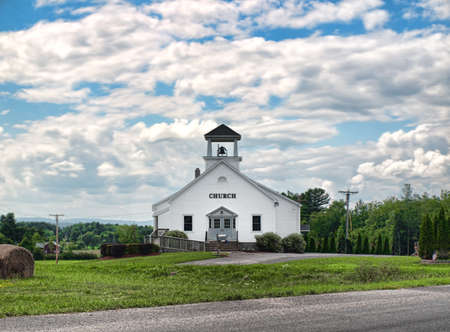 simple church in the countryside Stock Photo