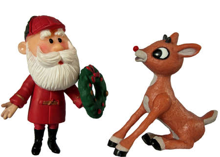 santa claus and rudolph the red nosed reindeer on white background