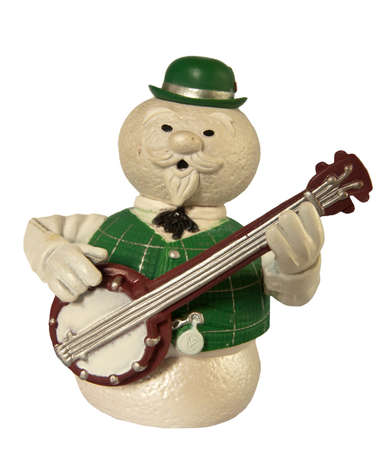 snowman playing musical instrument
