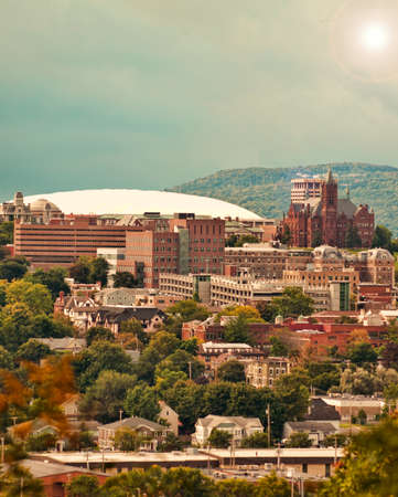view of syracuse, new york , the carrier dome and syracuse university hill, vertical format Stock Photo