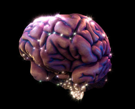 depiction: human brain depiction with neurotransmitters