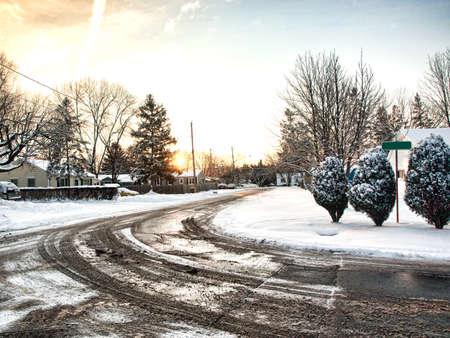 slushy: residental strret with slushy curve in wintertime