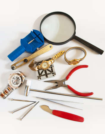 assorted tools for repairing watches and timepieces Stock Photo