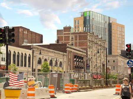 Boston, Massachusetts, USA- June 8,2014. Street scene in a construction area Editorial