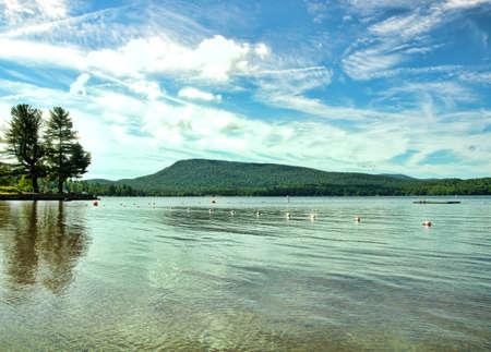 Lake Pleasant from Speculator Beach in Speculator, New York Banco de Imagens