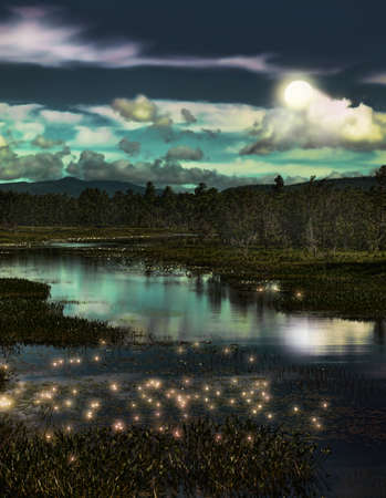 depiction: depiction of a forest stream with lightning bugs at twilight Stock Photo