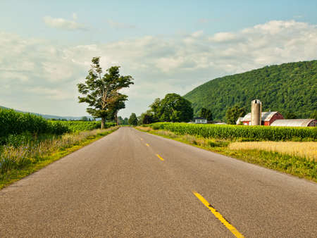 rural road in small town America Stock Photo