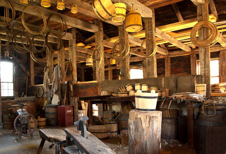 old fashioned rope, bucket and barrel making workshop