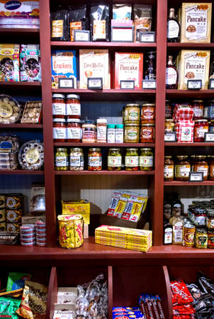 old items: Cicero, New York, USA. Cracker Barrel Country Store. Shelves filled with old fashioned products and baking items