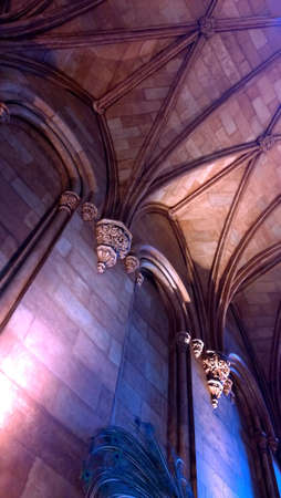 romanesque: interior of a Romanesque castle at night