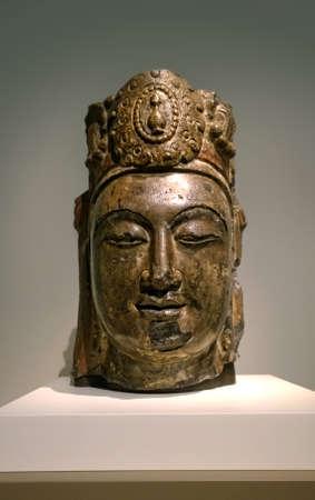 bodhisattva: Washington, DC, USA. March 10,2014. Freer Gallery of Art. Head of the Bodhisattva Mahasthamaprapta. Hebei Province, Fengfeng, circa 550-577