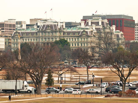 ejecutivo en oficina: vista de la Oficina Ejecutiva Eisenhower Bulding, Avenida Pennsylvania, Washington, DC