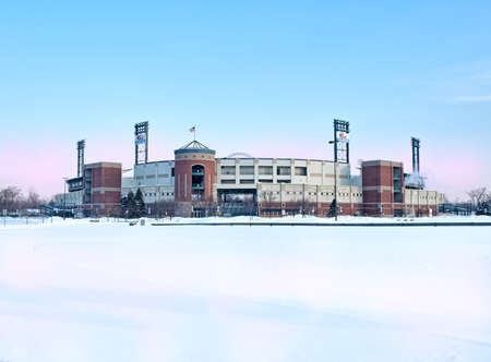 chiefs: Syracuse, New York, USA. Febuary 18, 2015. View of the NBT Bank Stadium , home of the Syracuse Chiefs minoe league baseball team, in wintertime