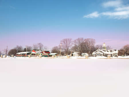 Onondaga Lake Park in Liverpool, New York on a winter morning Editorial