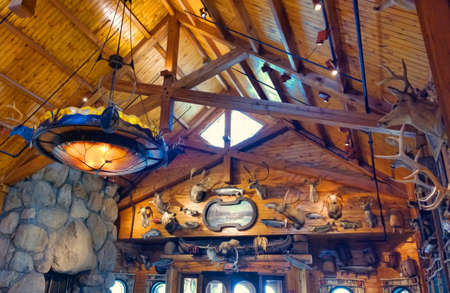 Auburn New York, USA. May 10,2015. . Rustic, cabin-like interior of the Bass Pro Shops in the Fingerlakes Mall
