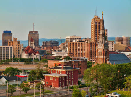 new york buildings: view of Syracuse, New York in the morning in summertime Stock Photo
