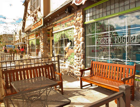 lake fronts: Lake George, New York, USA. September 20, 2015. Store fronts along Route 9 in the towncenter of Lake George, New York