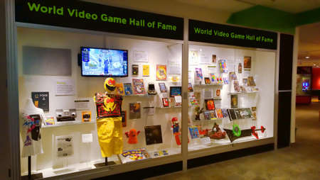Rochester, New York, USA. October 24, 2015. The Strong National Museum of Play. Glass display cases of the World Video Game Hall of Fame