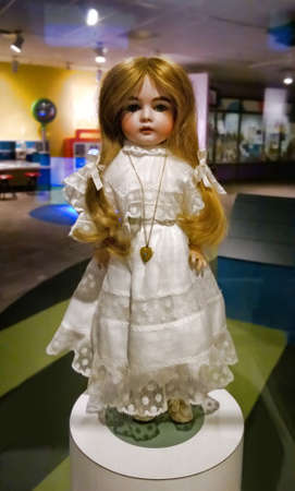 philanthropist: Rochester, New York, USA. October 24, 2015. The Strong National Museum of Play. Childhood doll of Margret Woodbury Strong, philanthropist and collector. Her collection was the basis for the museum named after her Editorial
