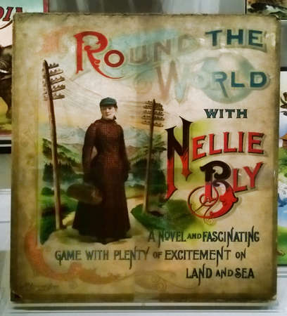 Rochester, New York, USA. October 24, 2015. The Strong National Museum of Play. Vintage Round the World with Nellie Bly novel and game