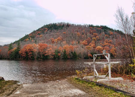 oxbow: Oxbow Lake , New York, boat launch in autumn