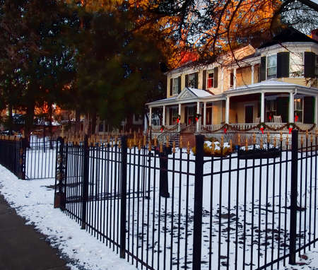 Cazenovia, New York, USA. January 5, 2016. One of the many beautiful homes that line Albany Street in Cazenovia , New York in the wintertime