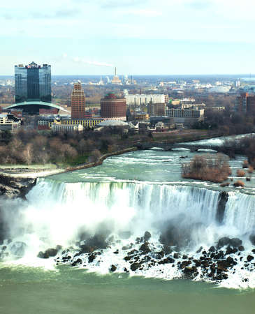 niagara falls city: Niagara Falls; Ontario; Canada; December, 20,2015 View of the city of Niagara Falls and the world famous waterfalls Editorial