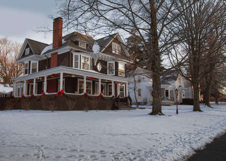 Cazenovia, New York, USA. January 5, 2016. One of the many beautiful homes that line Albany Street in Cazenovia , New York