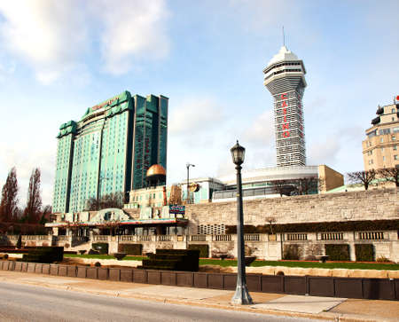 Niagara Falls; Ontario; Canada; December, 20,2015. View of hotels and casinos from Niagara Boulevard in Niagara Falls City, Ontario, Canada