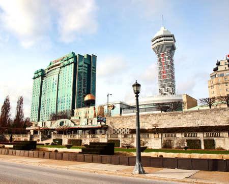 niagara falls city: Niagara Falls; Ontario; Canada; December, 20,2015. View of hotels and casinos from Niagara Boulevard in Niagara Falls City, Ontario, Canada
