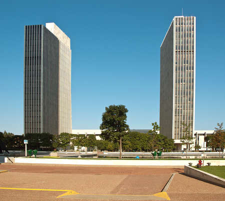 Albany, New York, USA. September, 4,2016. Two of the four Agency Buildings on the grounds of the Empire State Plaza in Albany, New York