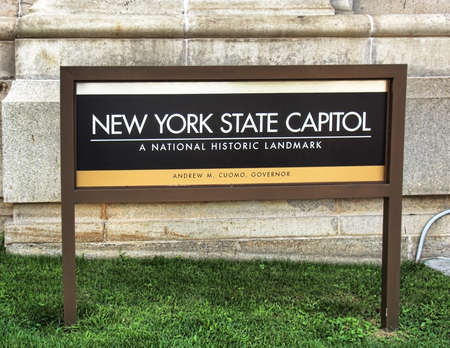 Albany, New York, USA. September, 4,2016. Sign on the lawn of the New York State capitol Editorial