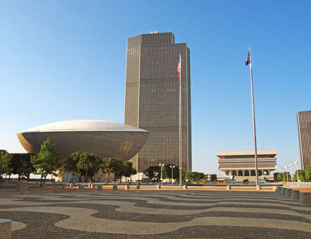 Albany, New York, USA. September, 4,2016. View of the Empire State Plaza with The Egg and New York State Museum