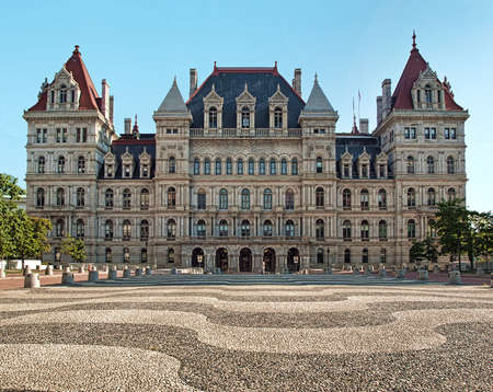legislator: Albany, New York, USA. September, 4,2016. View of the New York State Capitol from the Emire State Plaza Editorial
