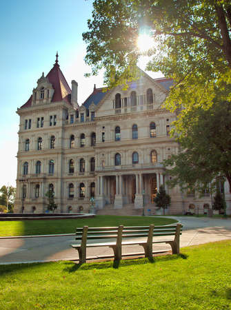 Albany, New York, USA. September, 4,2016. Grounds of the New York State Capitol in albany, New York Editorial
