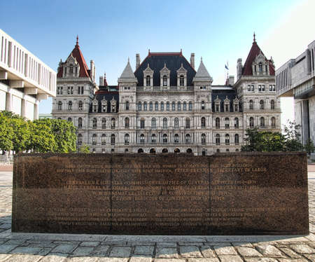 Albany, New York, USA. September, 4,2016. Commemorative stone in front of the New York State Capitol in honor of its  architects and builders Editorial