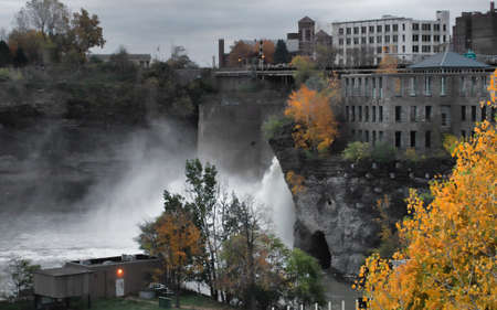 View of the High Falls in Rochester, New York on an overcast autumn day