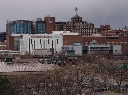 Syracuse, New York , USA. December 8, 2016. View of Upstate University Hospital, Upstate Cancer Center and Golisanos Childrens Hospital on Adams Street in Syracuse, New York Editorial