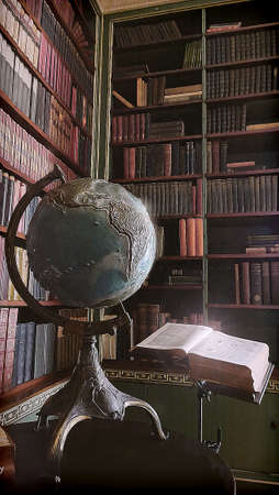globe and book in a library depiction